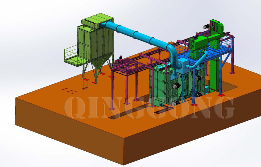 overhead rail shot blasting machine 1